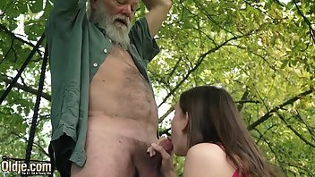 Grandpa Cumshot Facial Teen Outdoor