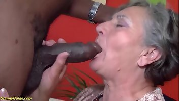 Granny Facial Interracial Blowjob
